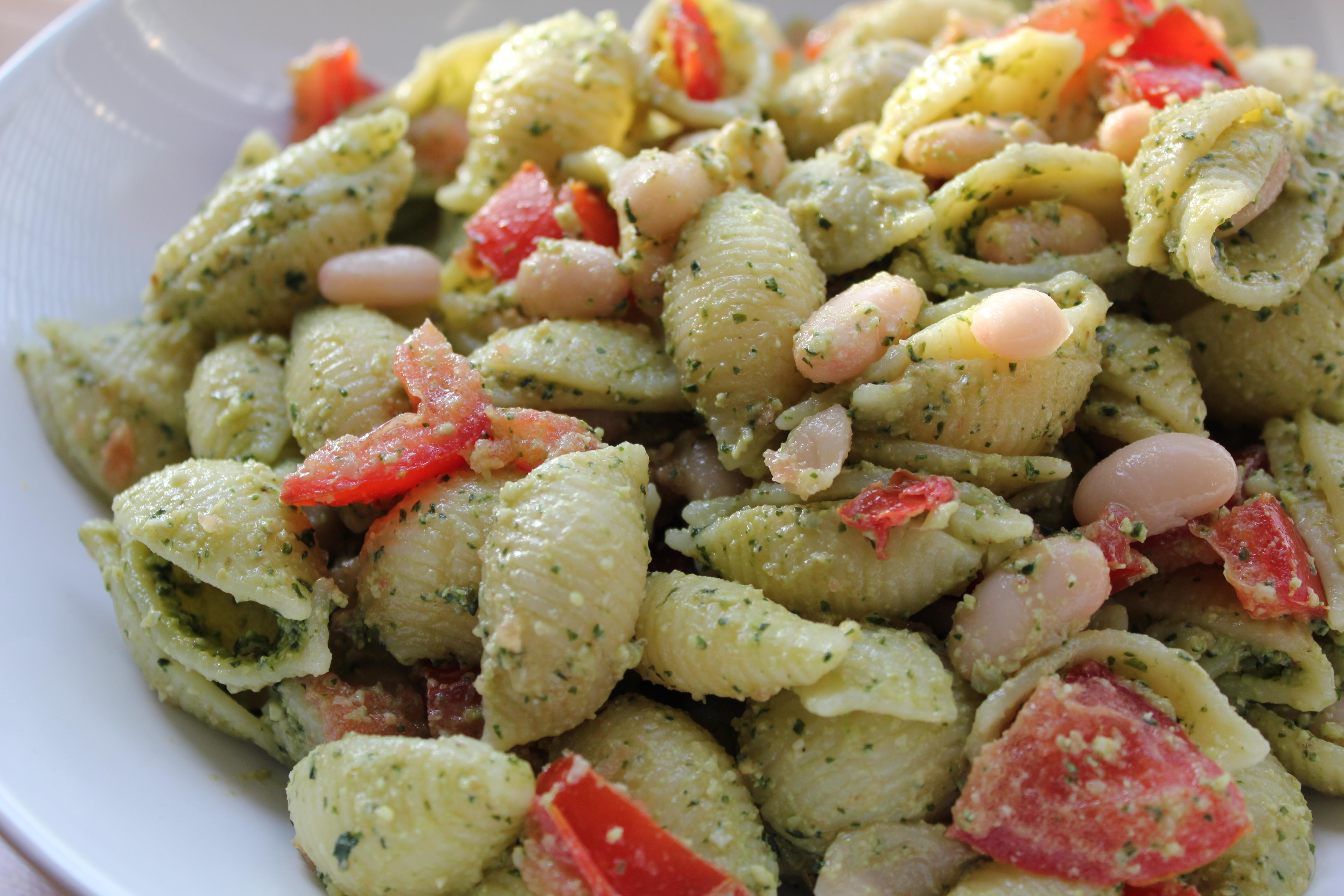 White Bean and Tomato Pesto Pasta Salad | Clara Persis
